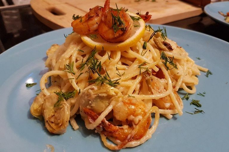 Arti (-geschockte) Pasta mit Garnelen