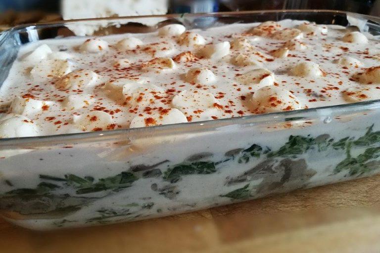 Champignon - Spinat - Lasagne mit Feta - Guss