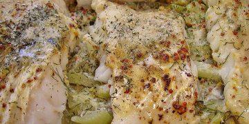 Fischfilet auf Fenchel in Butter-Senf-Sauce