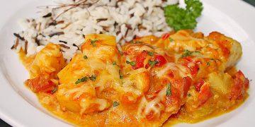 Fruchtiger Curry-Seelachsauflauf