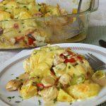 Gebackene Kartoffeln mit Lauch und Hähnchen