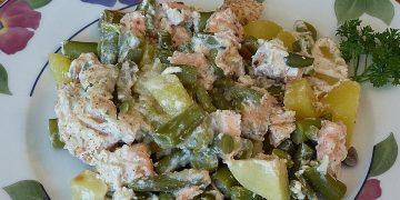 Lachs-Kartoffel-Bohnen Auflauf mit milder Senfcreme