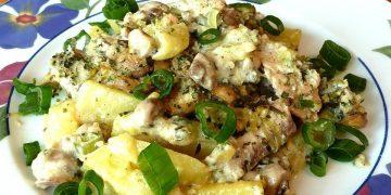 Lachs - Kartoffel Gratin mit Champignon - Rahm
