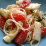 Spaghetti mit gebratenem weißen Spargel