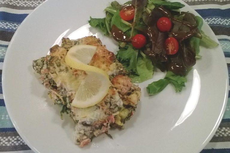 Tortellini gratiniert mit Lachs und Spinat