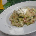 Zucchini-Risotto mit Speck